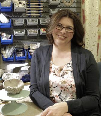 Jennifer Corfield in her ceramics studio